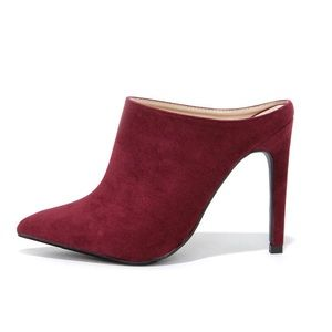Anne Michelle Burgundy Suede Pointed Mules Size 7